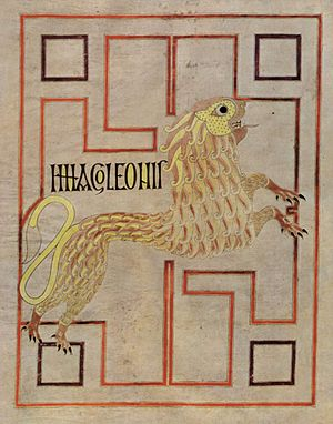 Lion (heraldry) - A Lion of Saint Mark, from the Echternach Gospels (late 7th century).