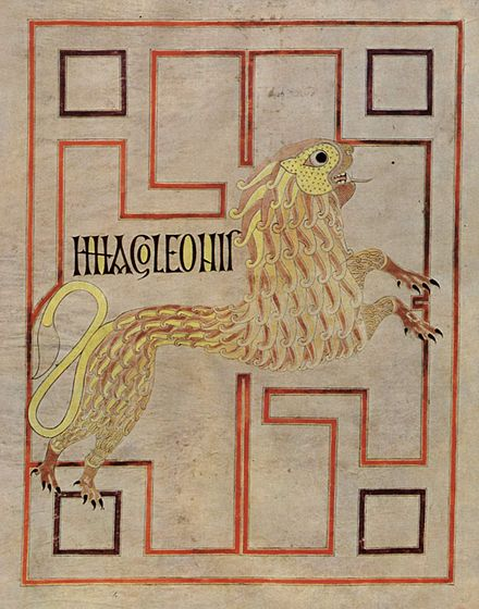 The lion symbol of St. Mark from the Echternach Gospels, here without wings. Bibliotheque nationale de France, Paris. Meister des Evangeliars von Echternach 001.jpg