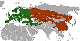 Meles (genus) - Image: Meles species range map