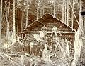 Men outside of log cabin at WM Brook's mining camp, probably Alaska, ca 1896 (LAROCHE 26).jpeg
