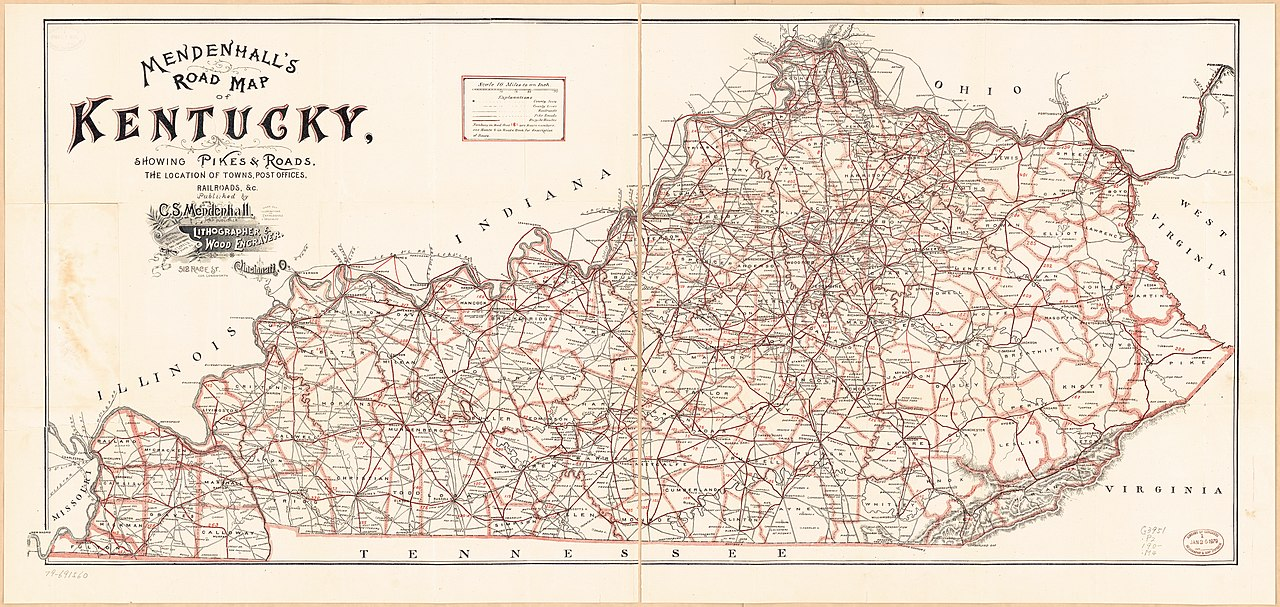 File:Mendenhall's Road map of Kentucky - showing pikes & roads, the on kentucky drainage map, kentucky park map, 4th grade tennessee map, murray sea map, kentucky outline map, kentucky interstate map, kentucky county map, ohio kentucky tennessee map, united states map, kentucky transport map, kentucky lake map, kentucky street map, kentucky vegetation map, bourbon old map, interactive kentucky map, kentucky railway map, kentucky travel map, kentucky trail map, kentucky flash, ohio county map,