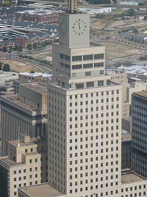 Mercantile National Bank Building - The Main Tower of the Mercantile Complex pre-renovation, with the Securities Building in the middle and the Dallas Building behind.