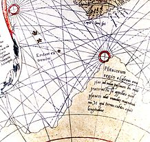 A detail of the globe showing curved rhumb lines.