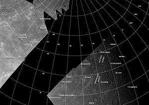 Victoria quadrangle - Mariner 10 photomosaic of the Victoria quadrangle