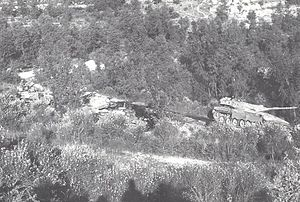 Battle of Jezzine (1982) - Israeli Merkava tank of Captain Tzur Maor passing two T-62 tanks which he destroyed, near Jezzine, a few minutes before Maor was killed when the tank was ambushed