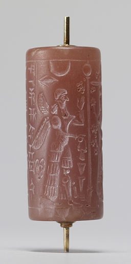 Mesopotamian - Cylinder Seal with Winged Deities - Walters 421194 - Side B