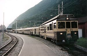 Interlaken Ost railway station - A BOB train at Interlaken Ost, note the former brown / cream livery
