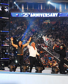 Photographie de Mickey Rourke et Ric Flair saluant la foule au spectacle de catch Wrestlemania 25.