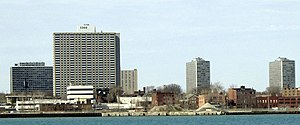 Lafayette Park, Detroit - View of Lafayette Park from Windsor, Ontario, Canada, 2007