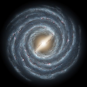 Hipparcos - Artist's concept of our Milky Way galaxy, showing two prominent spiral arms attached to the ends of a thick central bar. Hipparcos mapped many stars in the solar neighbourhood with great accuracy, though this represents only a small fraction of stars in the galaxy.