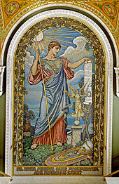 mosaic wall decoration Minerva of Peace mosaic by Elihu Vedder
