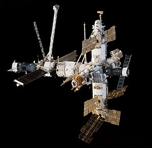 Mir - Image: Mir Space Station viewed from Endeavour during STS 89