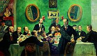 Mir iskusstva group by B.Kustodiev (1916-20, Russian museum).jpg