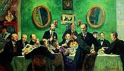 Mir iskusstva group by B.Kustodiev (1916-20, Russian museum).jpg