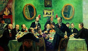 "Mir iskusstva - ""Members of the World of Art Movement"",  by Boris Kustodiev (1916-1920). From left to right: Igor Grabar, Nicholas Roerich, Eugene Lanceray, Kustodiev, Ivan Bilibin, Anna Ostroumova-Lebedeva, Alexandre Benois,  Heorhiy Narbut, Kuzma Petrov-Vodkin, Nikolay Milioti, Konstantin Somov and Mstislav Dobuzhinsky"