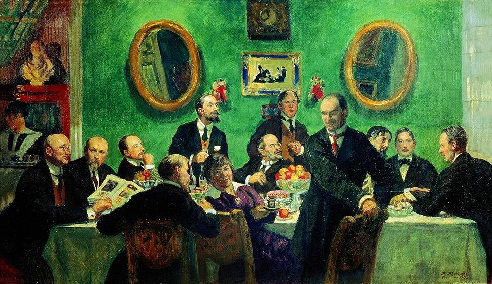 Mir iskusstva group by B.Kustodiev (1916-20, Russian museum)