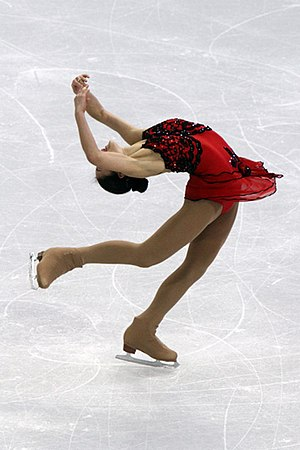 Single skating - Mirai Nagasu, a ladies' single skater, performs a layback spin.