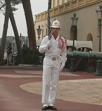 Military of Monaco - A member of the armed forces of Monaco on guard duty at the Prince's Palace.