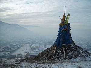 Religion in Mongolia - An ovoo on the sacred mount above Dambadarjaalin Monastery in Ulaanbaatar