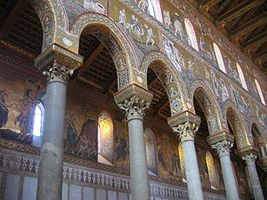 "Clerestory - The walls of the clerestory of the ""basilica"" style Monreale cathedral are covered with mosaic."