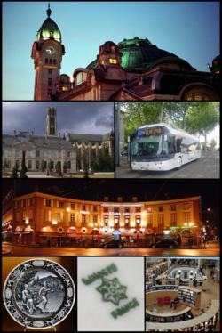 De haut en bas, de gauche à droite: Gare des Bénédictins; Cathédrale Saint-Étienne; Trolleybus; Place Denis-Dussoubs; Émail de Limoges; Tampon sur porcelaine; Bibliothèque francophone multimédia.