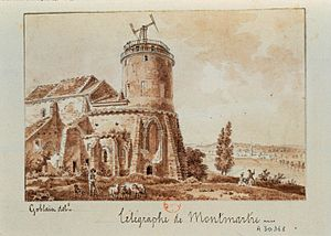 Saint-Pierre de Montmartre - Télégraphe de Montmartre, pen and wash drawing by Antoine-Louis Goblain, 19th century