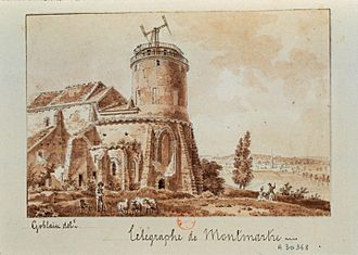 Montmartre Abbey - A 19th century pen and wash drawing of the adjoining church by Antoine-Louis Goblain.