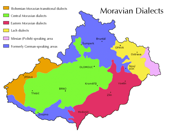 Traditional territory of the main dialect groups of Moravia and Czech Silesia. Green: Central Moravian, Red: East Moravian, Yellow: Lach (Silesian), Pink: Cieszyn Silesian, Orange: Bohemian-Moravian transitional dialects, Purple: Mixed areas Moravian dialects.png