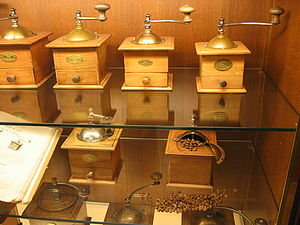 Musée de l'Aventure Peugeot - Peugeot coffee grinders. Museum exhibits are not restricted to cars and bikes.