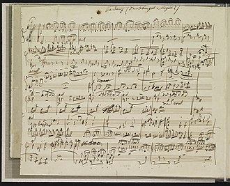 Piano Concerto No. 20 (Mozart) - Manuscript of Brahms' cadenza to the first movement.