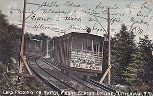 Mount Beacon Incline Railway - The railway's two cars passing each other in this circa 1905 postcard.