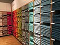 Multicoloured bath towels, John Lewis, Reading, UK - 20150711-01.jpg