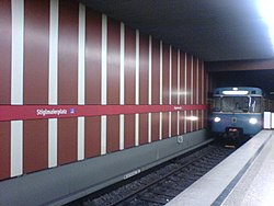 Munich U-Bahn station Stiglmaierplatz with train.JPG