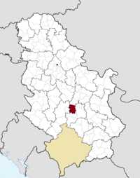 Location of the municipality of Trstenik within Serbia
