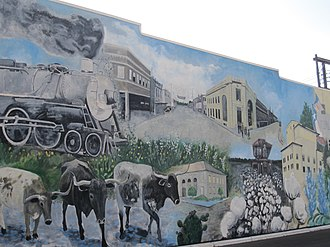 Temple, Texas - Mural of historical development in downtown Temple, by Philip M. Dunham