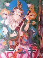 Mural paintings at Buddhist temple, Bylakuppe.jpg