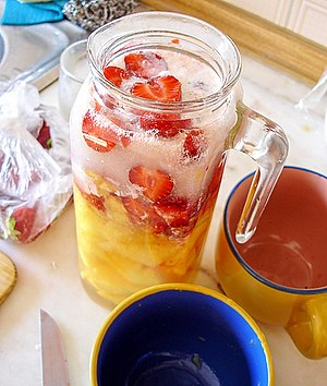 Juice - Fruit juice being used in the preparation of a smoothie.