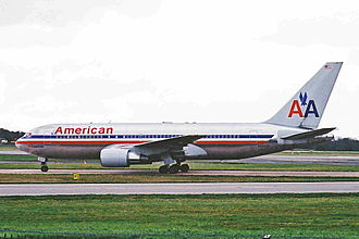 American Airlines Flight 11 - N334AA, the aircraft involved, taxiing at Manchester Airport on April 8, 2001, five months before the attacks.