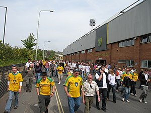 Carrow Road - Fans walking along the road after which the stadium takes its name