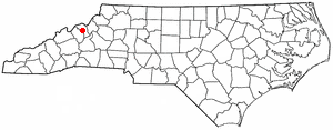 Bakersville, North Carolina - Image: NC Map doton Bakersville