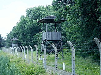 Vught - Watchtowers and barbed wire fences at Herzogenbusch concentration camp in Vught