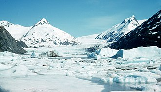 Portage Glacier - Portage Glacier has retreated substantially since this image was taken in 1958
