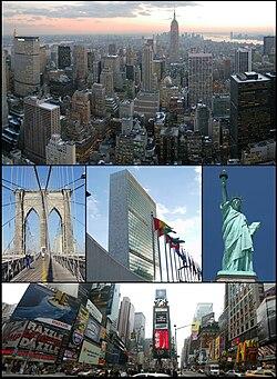 Từ trái bên trên: Manhattan phía nam Trung tâm Rockefeller, Cầu Brooklyn, Tổng hành dinh Liên Hiệp Quốc, Tượng Nữ thần Tự do, và Quảng trường Thời đại