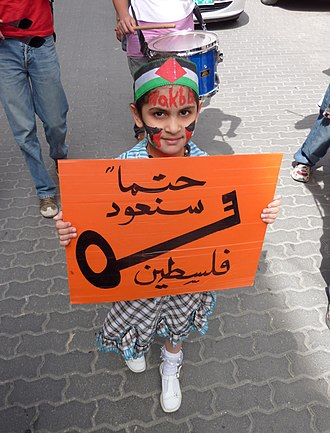 "Nakba Day - Palestinian girl in a protest on Nakba Day 2010 in Hebron, West Bank. Her sign says ""Surely we will return, Palestine."" Most of the Palestinian refugees in the West Bank are descendants of people whose families hail from areas that were incorporated into Israel in 1948. The key is a symbol of the houses which Palestinians left as part of the Nakba."