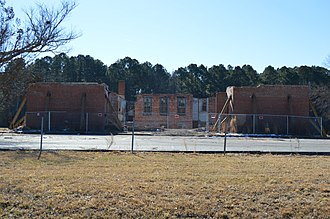 Nansemond County Training School - Front of the school, while undergoing reconstruction in 2018