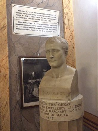 Palazzo Parisio (Valletta) - Bust of Napoleon commemorating his stay at the palace.