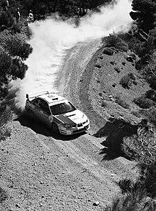 Al-Attiyah al volante di una Subaru Impreza WRX STI al Rally dell'Acropoli 2006.