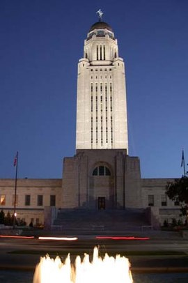 Nebraska State Capitol at night.jpg