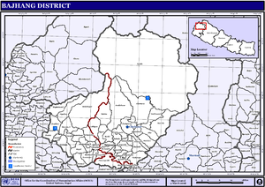 Bajhang District - Map of the VDC/s in Bajhang District