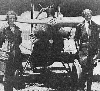 Bert Kinner - L–R: Neta Snook and Amelia Earhart in front of Earhart's Kinner Airster, c. 1921